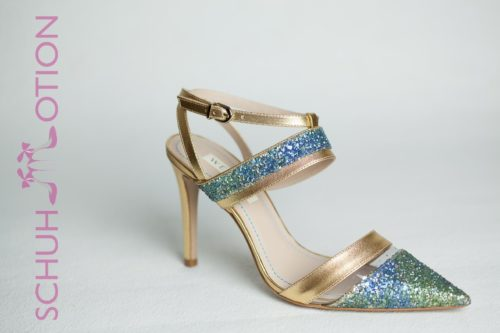 Glitzerpumps gold blau